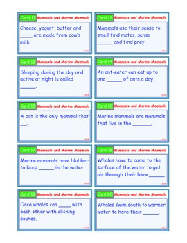 A Brilliant - I-Scoot – Mammals and Marine Mammals – 30 Task Cards - Interactive