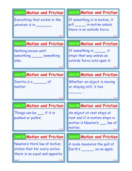 A Brilliant - I-Scoot – Motion and Friction – 30 Task Cards - Interactive