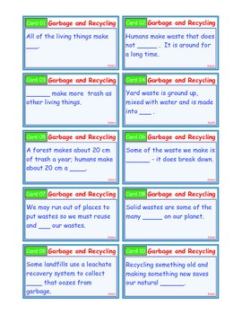 A Brilliant - I-Scoot – Garbage and Recycling – 30 Task Cards - Interactive