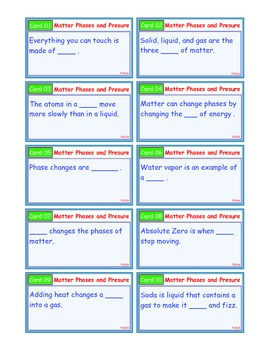 A Brilliant - I-Scoot – Phases of Matter and Pressure – 30 Cards - Interactive