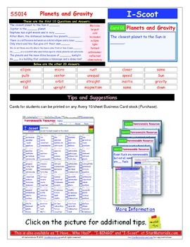 A Brilliant - I-Scoot – Planets and Gravity – 30 Task Cards - Interactive