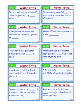 A Brilliant - I-Scoot – Water Trivia – 30 Task Cards - Interactive