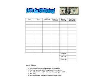 "A Budget Activity with Discount and Taxes:  ""Let's Go Shopping!"""