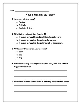 A Bug, A Bear, and A Boy Guided Reading Quiz