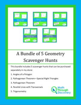 A Bundle of 5 Geometry Scavenger Hunts