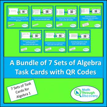 A Bundle of 7 Algebra I Task Cards with QR Codes