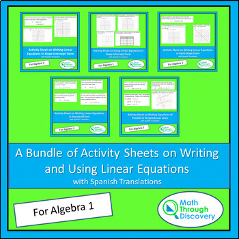 A Bundle of Activity Sheets on Writing and Using Linear Equations
