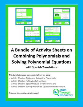 A Bundle of Activity Sheets-Combining Polynomials-Solving Polynomials Equations