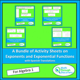Algebra 1 - Bundle of Activity Sheets on Exponents and Exp