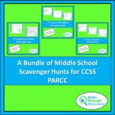 A Bundle of Middle School Scavenger Hunts for CCSS PARCC