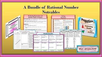 A Bundle of Rational Numbers Noteables