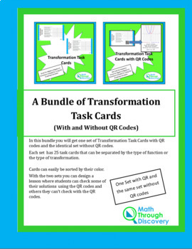 A Bundle of Transformation Task Cards (With and Without QR Codes)