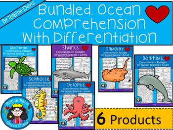 A+ Bundled Ocean Comprehension: Guided Reading With Differentiated Instruction