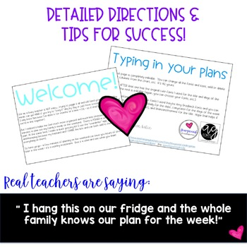A Busy Teacher's Editable Menu Plan ... organized planning & less stress!