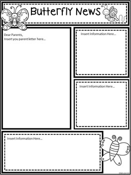 A+ Butterfly *EDITABLE* Papers...Teacher News & Notes To Parents