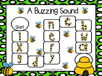 A Buzzing Sound:  NO PREP Bug Themed Beginning Sounds Board Game