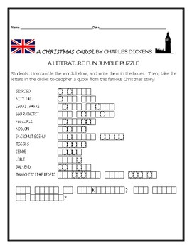 A CHRISTMAS CAROL: A LITERATURE WORD JUMBLE PUZZLE