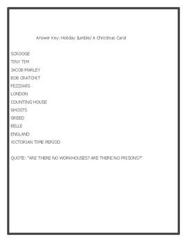 A CHRISTMAS CAROL: A LITERATURE WORD JUMBLE PUZZLE