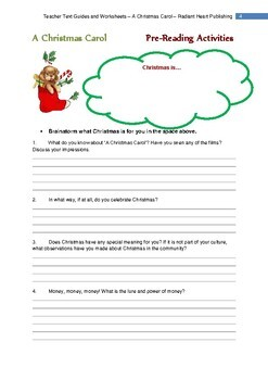 A CHRISTMAS CAROL - DICKENS Teacher Text Guides and Worksheets