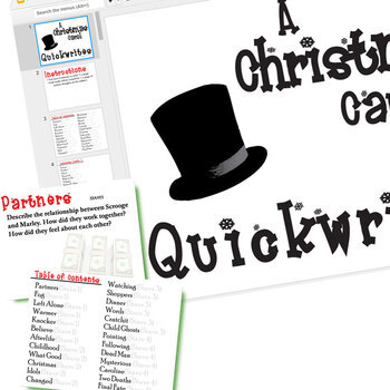 A CHRISTMAS CAROL Journal - Quickwrite Writing Prompts (Created for Digital)