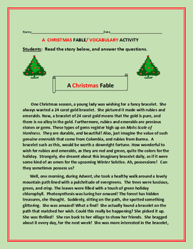 A CHRISTMAS FABLE ACTIVITY:   GRADES 4-8 (ELA activity/Cross Curricular)