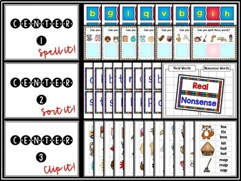 CVC Words | Small Group or Center Activities | Real and Nonsense Words