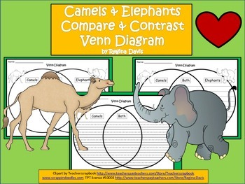 A+ Camels & Elephants Venn Diagram...Compare and Contrast
