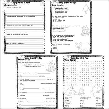 A Camping Spree with Mr. Magee : Comprehension Book Companion Activity Unit