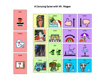 A Camping Spree with Mr. Magee Core Word Manual Board and Manipulatives