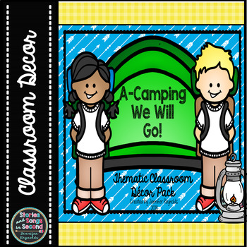 Camping Classroom Decor Pack {Woodland Animals, Chalkboard & Gingham}