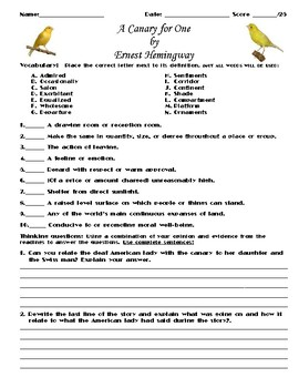 A Canary for One by Ernest Hemingway Assignment
