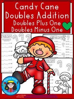 A+ Candy Cane Doubles Addition: Doubles Plus One, Doubles Minus 1