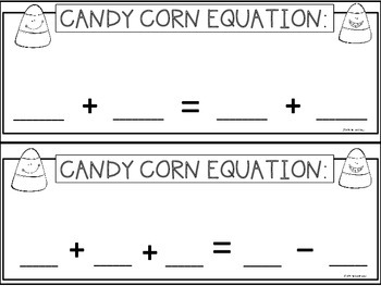 A+ Candy Corn Equation Practice: Addition, Subtraction