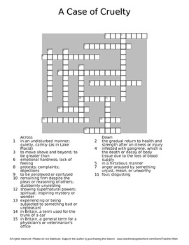 A Case of Cruelty James Herriot Guided Reading Worksheet Crossword & Wordsearch