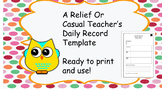 A Casual Teacher Day/Daily Overview Template