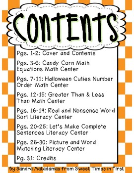 A Cauldron Full of Centers {Halloween Math & Literacy Centers for First Graders}