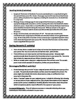 A Century of Black History menu project