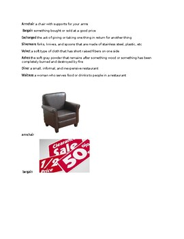 A Chair for My Mother Vocabulary