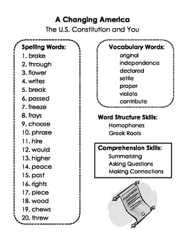 A Changing America Spelling and Skills BUNDLE - All Summary Pages