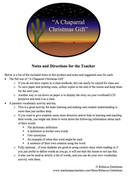 A Chaparral Christmas Gift by O. Henry Lesson and Activity Pack