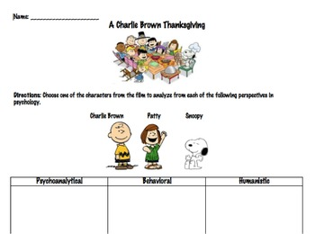 A Charlie Brown Thanksgiving Approaches Activity