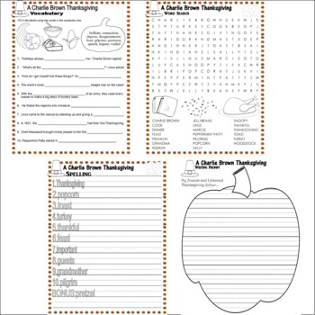 Charlie Brown Thanksgiving Comprehension Activity Packet 18pg