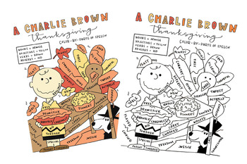 A Charlie Brown Thanksgiving Color By Parts Of Speech Activity Tpt