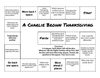 A Charlie Brown Thanksgiving Comprehension Game Board
