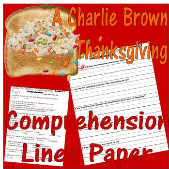 Charlie Brown Thanksgiving Comprehension : LINED Paper Easy Handwriting