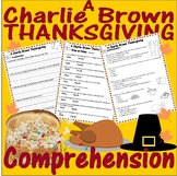 Charlie Brown Thanksgiving : Comprehension Quiz 3 SETS : M
