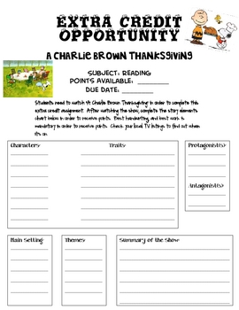 A Charlie Brown Thanksgiving Extra Credit Opportunity