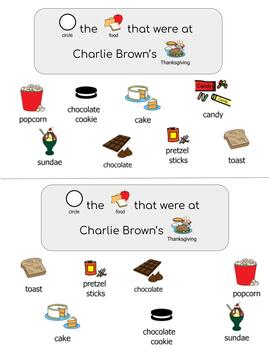 A Charlie Brown Thanksgiving- Task Cards- Symbol Supported
