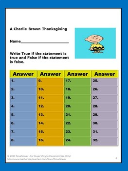 A Charlie Brown Thanksgiving True or False Activity