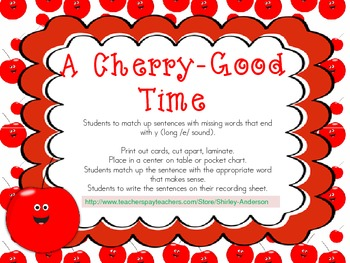 A Cherry Good Time- words ending with 'y'